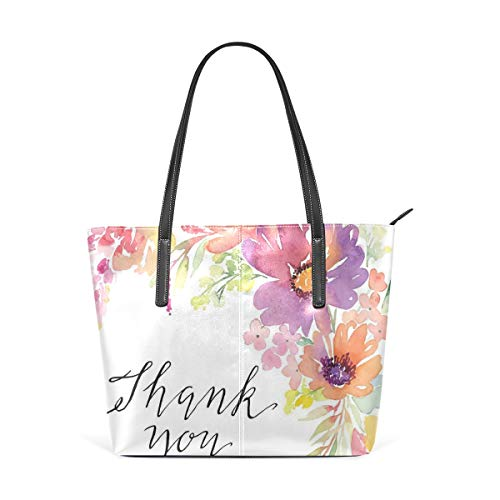 NR Multicolour Fashion Damen Handtaschen Schulterbeutel Umhängetaschen Damentaschen,Cornflowers-Pfingstrosen Romance künstlerischer Aquarell-Blumenstrauß-Hochzeits-Kranz