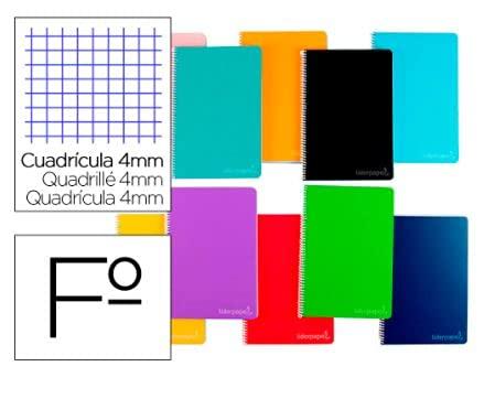 Cuaderno espiral liderpapel folio witty tapa dura 80h 75gr cuadro 4mm con margen colores surtidos