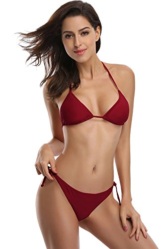 SHEKINI Damen Bikini Set Einfarbig Und Muster Zweiteiliger Badeanzug Mit Triangle Push Up Bandeau Padded Bandage Bikinihose (Medium, Weinrot)