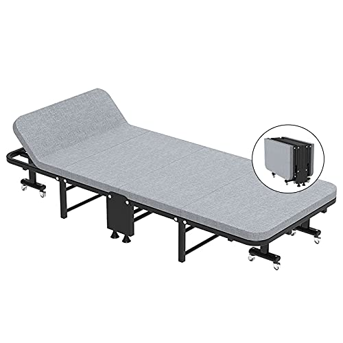 Patio Lounge Chairs Foldable Visitor Bed Home Office Spare Bed, Adjustable Bed Head Tilt, Portable Metal Bed with Mattress and Wheels, Movable Multifunctional Folding Single Bed