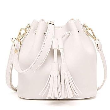 Dolce Na Womens Mini Bucket Bag Leather Drawstring Purse Tassel Crossbody Shoulder Bag  White #