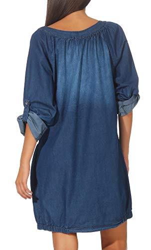 Malito Mujer Jeans Vestida Bata Prenda Algodón 6255 (Azul)