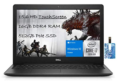 """Dell 2021 Newest Inspiron 15 3593 Laptop, 15.6"""" HD Touchscreen, 10th Intel Quad-Core i7-1065G7 Processor up to 3.90 GHz, 16GB RAM, 512GB SSD, Windows 10 with E.S Holiday32GB USB Card"""