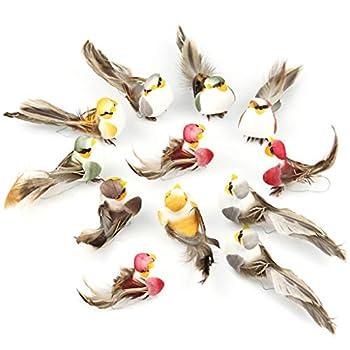 WINJEE, 12 PCs Artificielle Plume Mousse Simulation Oiseau Maison Jardin Décoration De Mariage