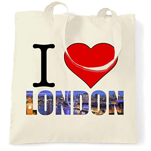 Tourist Tote Bag I Love London England Slogan -...