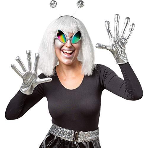 NET TOYS Stylisches Alien Kostüm-Set - Silber - Außergewöhnliche Unisex-Verkleidung Space Outfit mit Handschuhen, Brille und Haarreif - EIN Blickfang für Fasching & Karneval