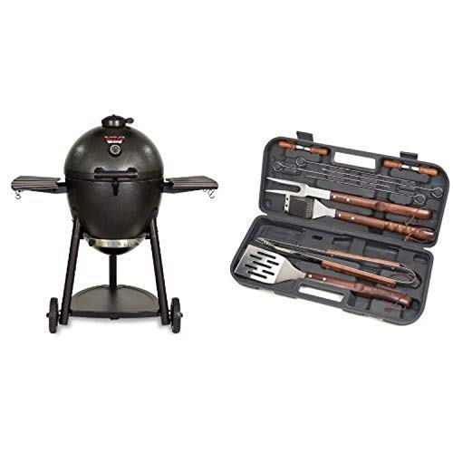 Char-Griller 16620 Akorn Kamado Kooker Charcoal Barbecue Grill and Smoker, Black with Cuisinart Grilling Set