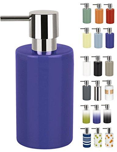 Spirella Seifenspender Tube | mit Pumpe | Flüssigseifen-Spender | Porzellan | 300ml | Langliebig und Robust | Blau