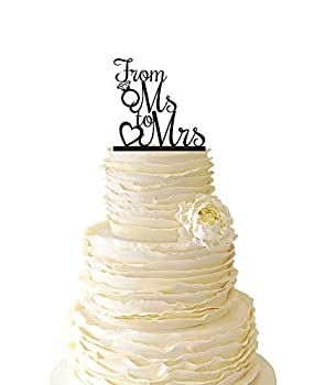 Cake Toppers Rustic From Ms To Mrs with Diamond Ring Wedding Bridal Shower Acrylic Special Event Cake Topper