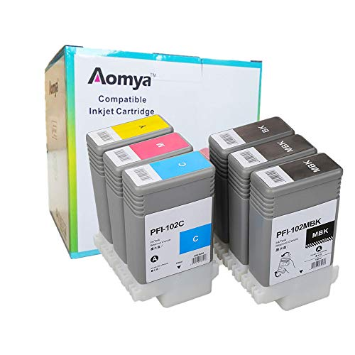 Aomya Compatible Ink Cartridge Replacement for Canon PFI-102 ImagePrograf iPF500 510 600 605 610 650 655 700 710 720 750 755 760 765 130ML Ink Cartridge(2MBK, BK, C, M, Y) 6 Pack¡
