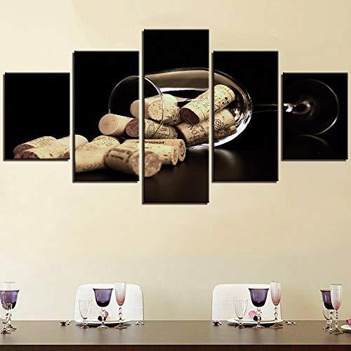 5 piezas botella corcho lienzo pintura vino carteles taza imagen para la decoración del bar de la habitación del hogar fondos de pantalla modernos cultura ilustraciones-30x40cmx2_30x60cmx2_30x80cmx1