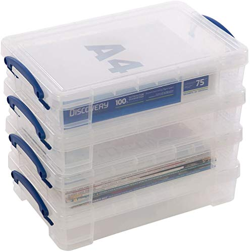 4 x Really Useful 4 Litre Storage Boxes Clear Plastic With Lid Box Heavy Duty