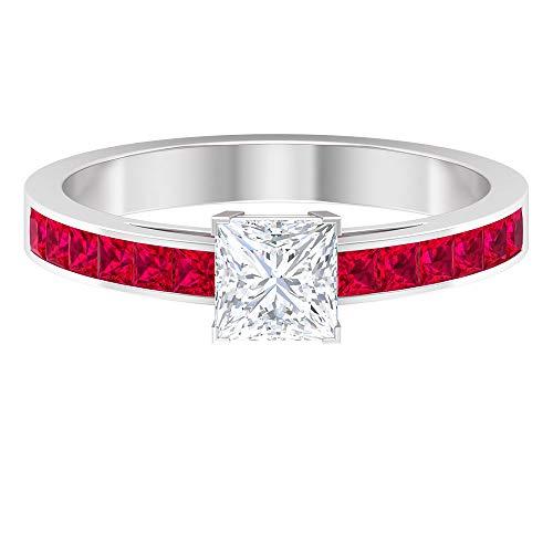 Anillo de diamante de corte princesa HI-SI de 5 x 5 mm, anillo de compromiso solitario de oro (calidad AAAA), oro de 10 quilates rojo