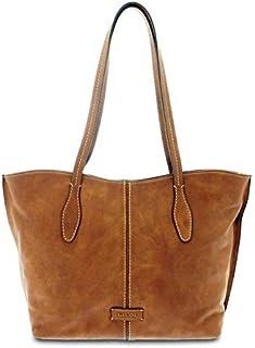 GIUDI ® - Borsa Donna in pelle vacchetta nuvolata, vera pelle, tracolla, shopping, Made in Italy. (Marrone)