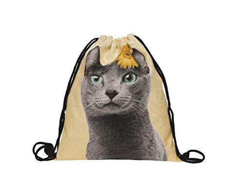 Hanessa Jutebeutel - graue Katze mit gelber Blume - mit lustigem Spruch Aufdruck Sportbeutel lustige Sprüche Tüte Rucksack Beutel Tasche Gym Bag Hipster Fashion Sport-Tasche Einkaufs-Tasche RU-354