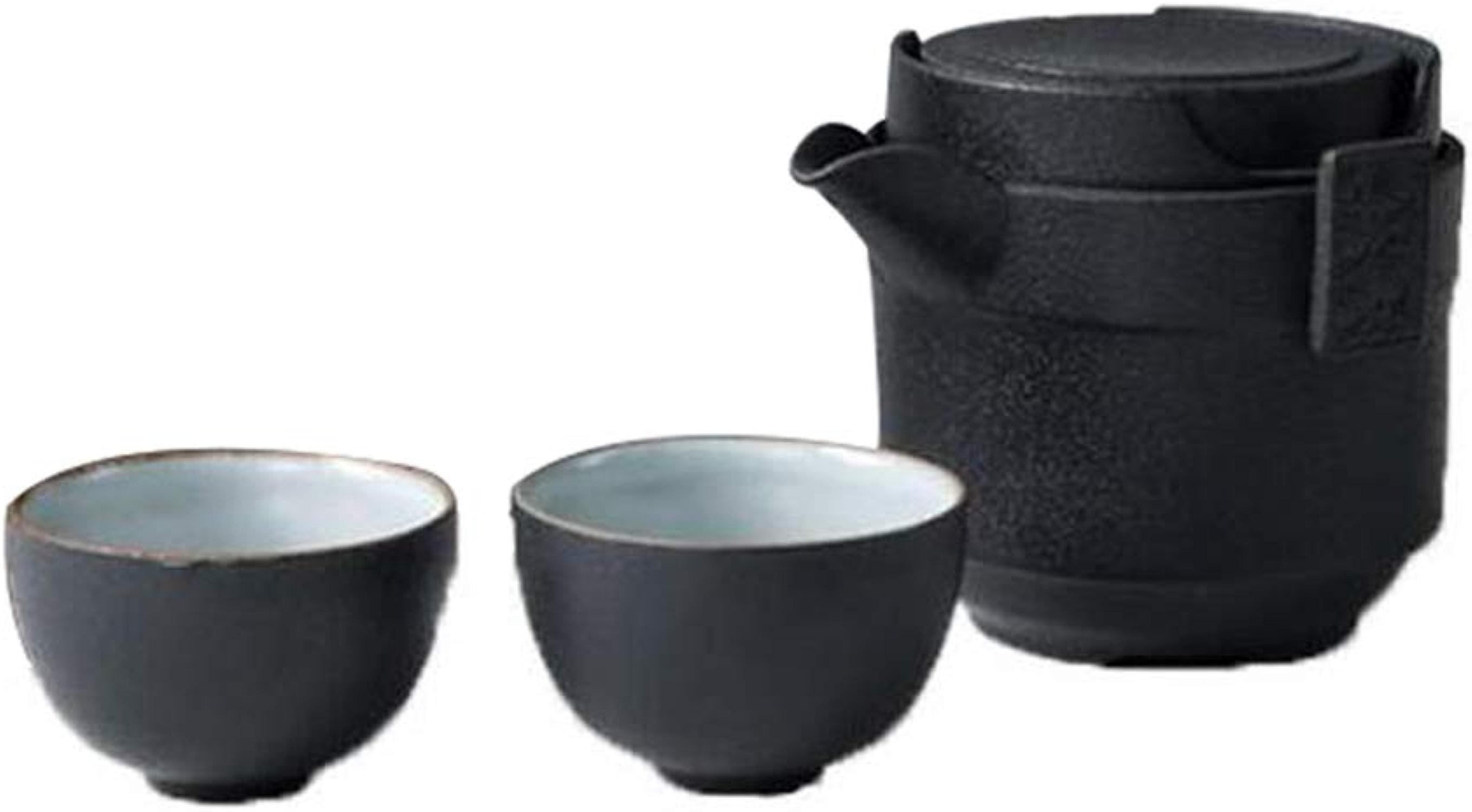 Wtbew-u Service à Thé En Céramique, 1 Pot, 2 Tasses, De Transport, Noir, Pour Le Bureau Du Ménage