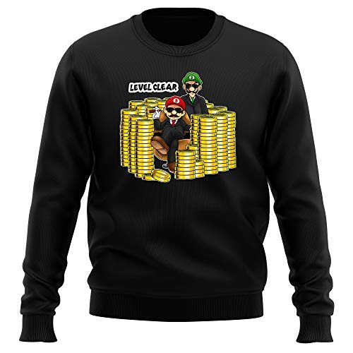 Okiwoki Pull Noir Parodie Super Mario - Mario et Luigi - Level Clear : (Sweatshirt de qualité Premium de Taille L - imprimé en France)