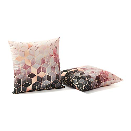 NJHarvests Modern Throw Pillow Covers Set of 2   Decorative, Velvet Accent Decor   Sofa, Couch, Bed Cushion, Luxury Pillowcase Cover   Nordic Style, Geometric Pattern Pink Rose, Gold Cover - 18x18
