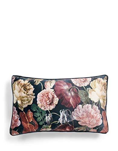 ESSENZA Dekokissen Claire Blumen Pfingstrosen Tulpen Polyester Indigo Blue, 30x50 cm