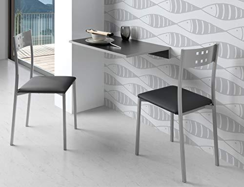 Miroytengo Conjunto Cocina Mesa Plegable Pared Vera + 2 sillas Costa Juego Color Negro Moderno Espac