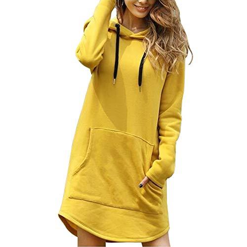 wenyujh Midi Sweat Robe à Capuche Femme Sweat-Shirt Manches Longues avec Poche Pull Hoodie