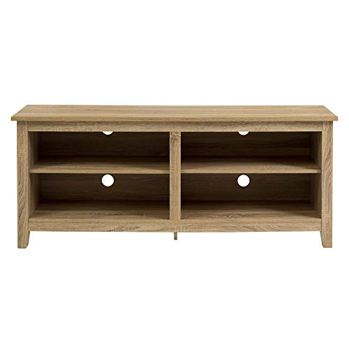 """WE Furniture 58"""" Wood TV Stand Storage Console, Natural"""