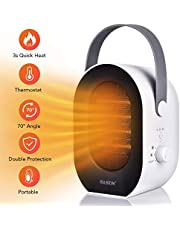 BASEIN Electric Heater Fan, Portable Fan Heater, Space Ceramic Heater with 1200W/600W Heating Modes, 3 Time Settings, Tip-Over and Overheat Protection for Home Office