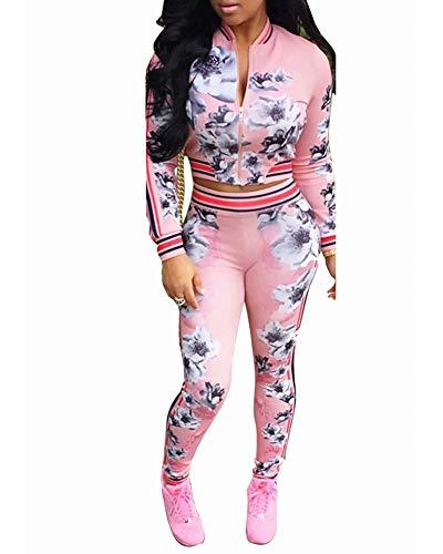 Women's Floral Jacket + Pants 2 Piece Set Tracksuit Sports Joggers Suit Pink L