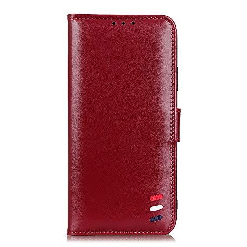 Hauw Funda Nokia 2.4,Flip Wallet Carcasa de telefono para Nokia 2.4,Vino Rojo