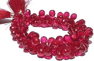 Jewel Beads 50% Off Ruby Red Corundum Quartz Faceted Tear Drop Briolettes Size 12x7-9x6mm 3.5 Inches Strand. Code-AUR-40436