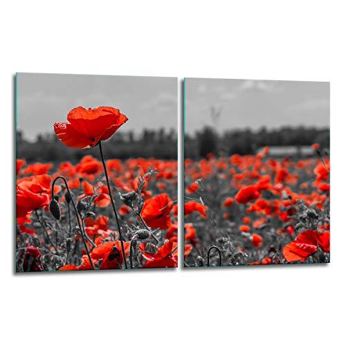 TMK | Juego de 2 cubiertas de vitrocerámica de 40 x 52 cm, protección contra salpicaduras, placa de cristal, cubierta de vitrocerámica, tabla de cortar, diseño de flores rojas