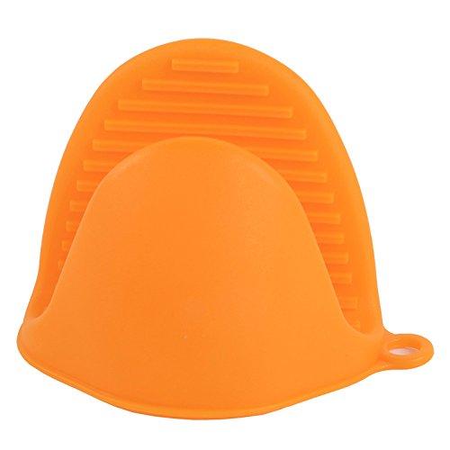 PPuujia Guantes de silicona resistentes al calor, aislamiento, antiadherente, antideslizante, soporte de intestino, clip para cocinar y hornear, utensilios para hornear (color: naranja)