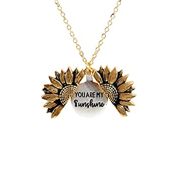 Sloong You Are My Sunshine Inspiring Engraved Necklace Memorial hidden message Sunflower Locket Necklace  A Sunflower