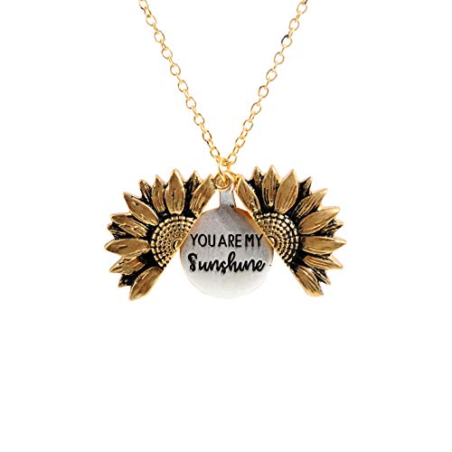 Sloong You Are My Sunshine Inspiring Engraved Necklace Memorial hidden message Sunflower Locket Necklace (A Sunflower)