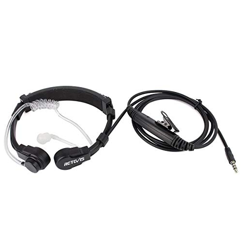 Retevis Covert Air Tube Earpiece Headset 1 Pin 3.5mm Flexible Throat Mic PTT Earpiece for Cellphone Walkie Talkies (1 Pack)