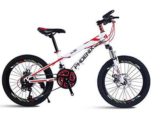 Creing Kinderfahrrad 21 Geschwindigkeit Fahrrad Mit vorderen Scheibenbremsen und hinteren Scheibenbremsen für Mädchen und Jungen,White,22inch