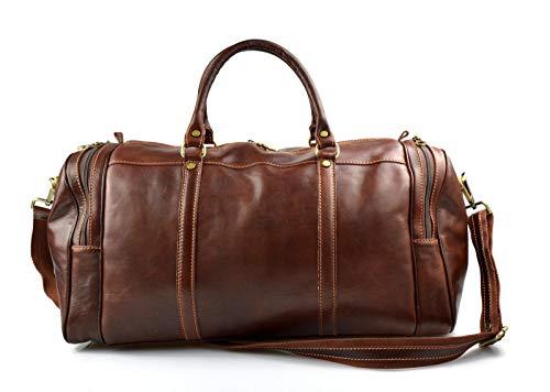 Leder reisetasche sporttasche damen herren schultertasche ledertasche raumbeutel braun