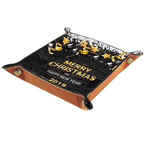 ZDL Caja de almacenamiento de madera negra con diseño de bolas navideñas de 2019 para llaves, teléfono, monedas, relojes, etc.