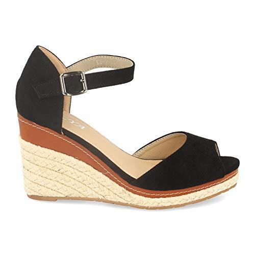 Sandalia Mujer Ankle Strap con Cuna de Yute, Pala Abierta y Cierre de Pulsera con Hebilla. Primavera Verano.