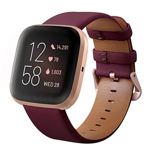 KADES Kompatibel für Fitbit Versa Armband, Echtleder-Armband mit Schnellverschluss-Pin Kompatibel für Fitbit Versa 2 Armband, für Versa Lite Edition Armband Frauen, Wein Rot