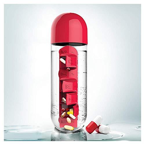 Asobu kombinieren Tägliche Pille Box organizer mit Wasser Flasche, plastik, rot, 7.6x7.6x23.5 cm