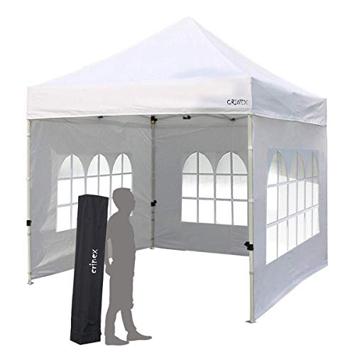 CRINEX 10x10 Canopy Tent, Pop Up Portable Shade Instant Folding Outdoor Gazebo Canopy Tent with 3 Removable Side Walls and Carry Bag