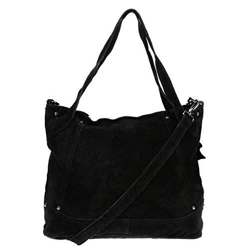 XL Christian Wippermann Leder Damentasche Shopper Bag Schultertasche Plus zusätzlichem Trageriemen Schwarz
