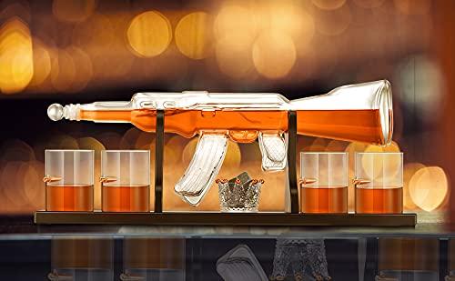 KKTECT Whisky Gun Dekanter Set Vier Glasbecher & ein Whisky Stone Cup auf klassischem Holzständer, mit Eisstein Set für Wein, Brandy, Bourbon, Scotch (800 ml)