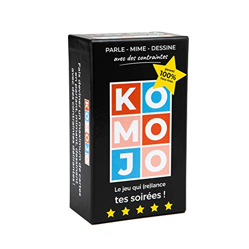 Komojo Nouveau Jeu de 480 Cartes - Jeux de société Soirée Apéro Ambiance Fun Entre Amis ou Famille - Devine des Mots en Mime Dessin avec Contrainte