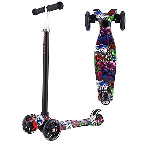 YUEBO Kick Scooter for Toddlers & Kids/Non-Batteries LED Light Up Scooter/ 3 Wheels Height Adjustable Scooter/Grils Boys Scooter Suitable for Children from 2-12 Years Old (Purple)