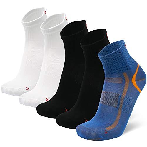 DANISH ENDURANCE Calcetines Deportivos Quarter Pro 5 Pares (Multicolor:1 x Azul/Naranja, 2 x Negro, 2 x Blanco, EU 43-47)