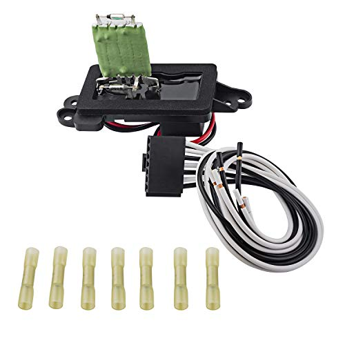 Car Manual AC Blower Motor Resistor Kit Compatible Escalade Tahoe Silverado Suburban Sierra 1500 1500HD 2500 2500HD 3500 3500HD 2003-2006 Replaces 89019088 22807123 + Plug Wiring Harness