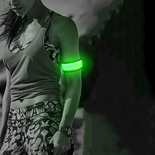 BSEEN LED Elastic Armband, 2 Pack Super Bright Glowing Sport Events Wristbands, Adjustable Light Up Bracelets for Runners, Joggers, Pet Owners, Cyclists (Green-Version 2)