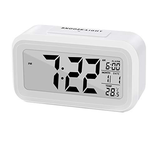 ASANMU LED Digital Wecker, Smart Digital Wecker Reisewecker Tischuhr mit Großem Display, Uhrzeit & Datum Temperatur, Snooze und Nachtlicht Batteriebetrieben Reiseuhr für Kinder und Erwachsene(Weiß)